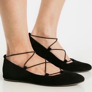 Lucky Brand Eaviee Black Suede Ballet Flats
